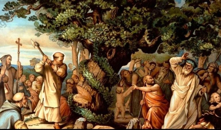 San Bonifacio cortando el árbol Yggdrasil