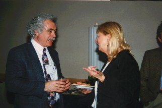 Winograd talks with Tora Bikson at the ACM CHI Conference on Human Factors in Computing Systems in Atlanta, GA in March 1997.
