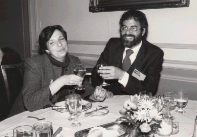 Marcus with Fran Frome at the ACM CHI Conference on Human Factors in Computing Systems in Boston, MA in April 1986.