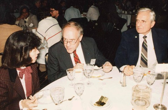 Fred Brooks and Doug Engelbart in dinner discussion at the Hypertext 1987 Conference in Chapel Hill, NC.