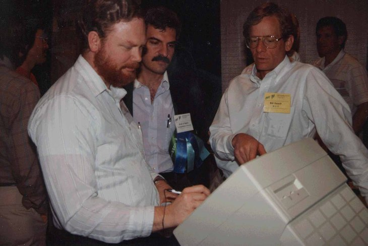 Myers with George Robertson (left) and Bill Gooch (right) at the ACM CHI Conference on Human Factors in Computing Systems in Seattle, WA in April 1990.