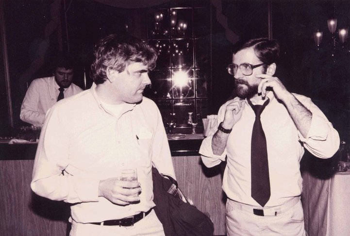 Lewis with Norman Sondheimer at the ACM CHI Conference on Human Factors in Computing Systems in Boston, MA in December 1983.