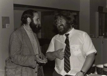 Ben Shneiderman (left) and Eliott Soloway in discussion at the ACM CHI Conference on Human Factors in Computing Systems in Boston, MA in December 1983.