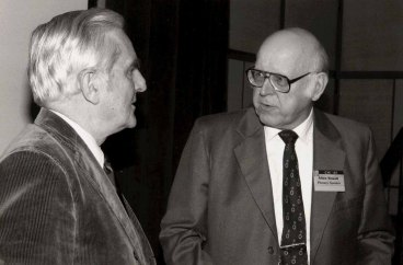 Newell talks with Doug Engelbart (left) at the ACM CHI Conference on Human Factors in Computing Systems in San Francisco, CA on April 14, 1985.