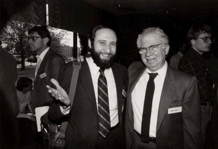 Ben Shneiderman (left) and Gerald Estrin at the first Conference on Computer-Supported Cooperative Work (CSCW) in Austin, TX in 1986.