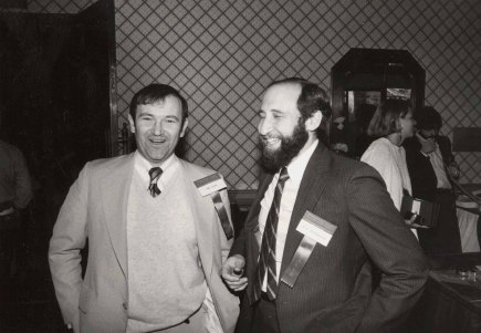 Ben Shneiderman (right) and Bill Curtis at the first Conference on Computer-Supported Cooperative Work (CSCW) in Austin, TX in 1986.
