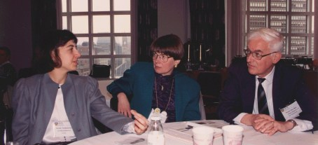 Susan Dray (center) with Nicole Yankelovich and Floris Van Nes at the ACM CHI Conference on Human Factors in Computing Systems in Boston, MA in April 1994.