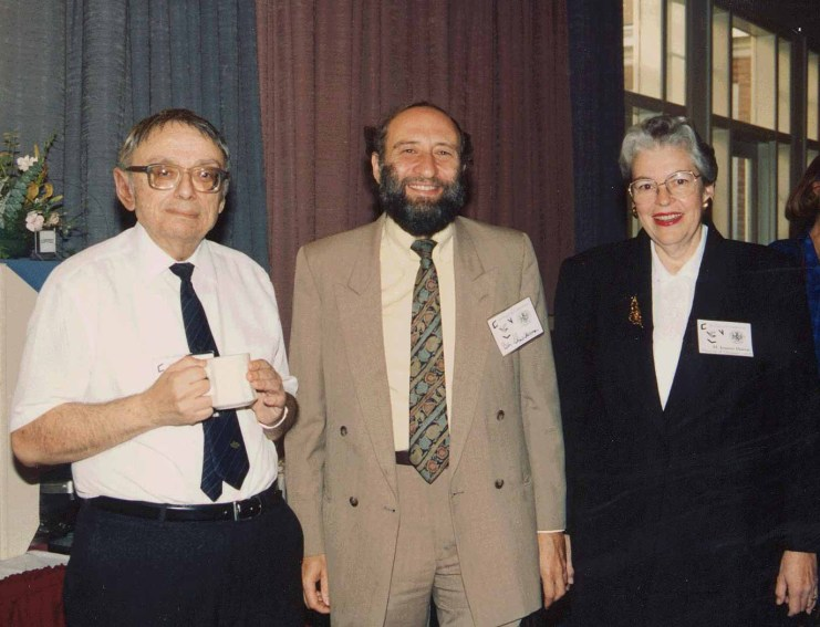 Ben Shneiderman (center) with Azriel Rosenfeld and Joanne Harrar at the Opening of the Center for Automation Research in College Park, MD in 1983.