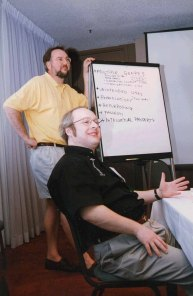 Nielsen with Will Hill at the ACM CHI Conference on Human Factors in Computing Systems in Atlanta, GA in March 1997.