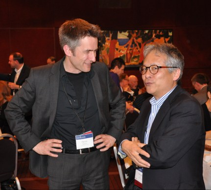 Hiroshi Ishii with Patrick Baudisch at the ACM CHI Conference on Human Factors in Computing Systems in Paris, France in April 2013.