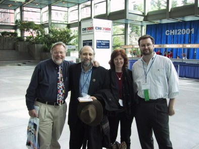 Tom Furness, Ben Shneiderman, Jenny Preece, and Andrew Sears at the ACM CHI Conference on Human Factors in Computing Systems in Seattle, WA on April 1, 2001.