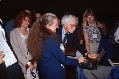 Kellogg with Thomas Landauer at the ACM CHI Conference on Human Factors in Computing Systems in Denver, CO in May 1995.