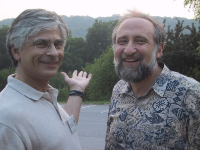 Feiner with Ben Shneiderman at the Smartgraphics Conference in Hawthorne, NY on June 11, 2002.