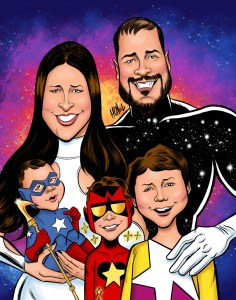Superhero Family Caricature