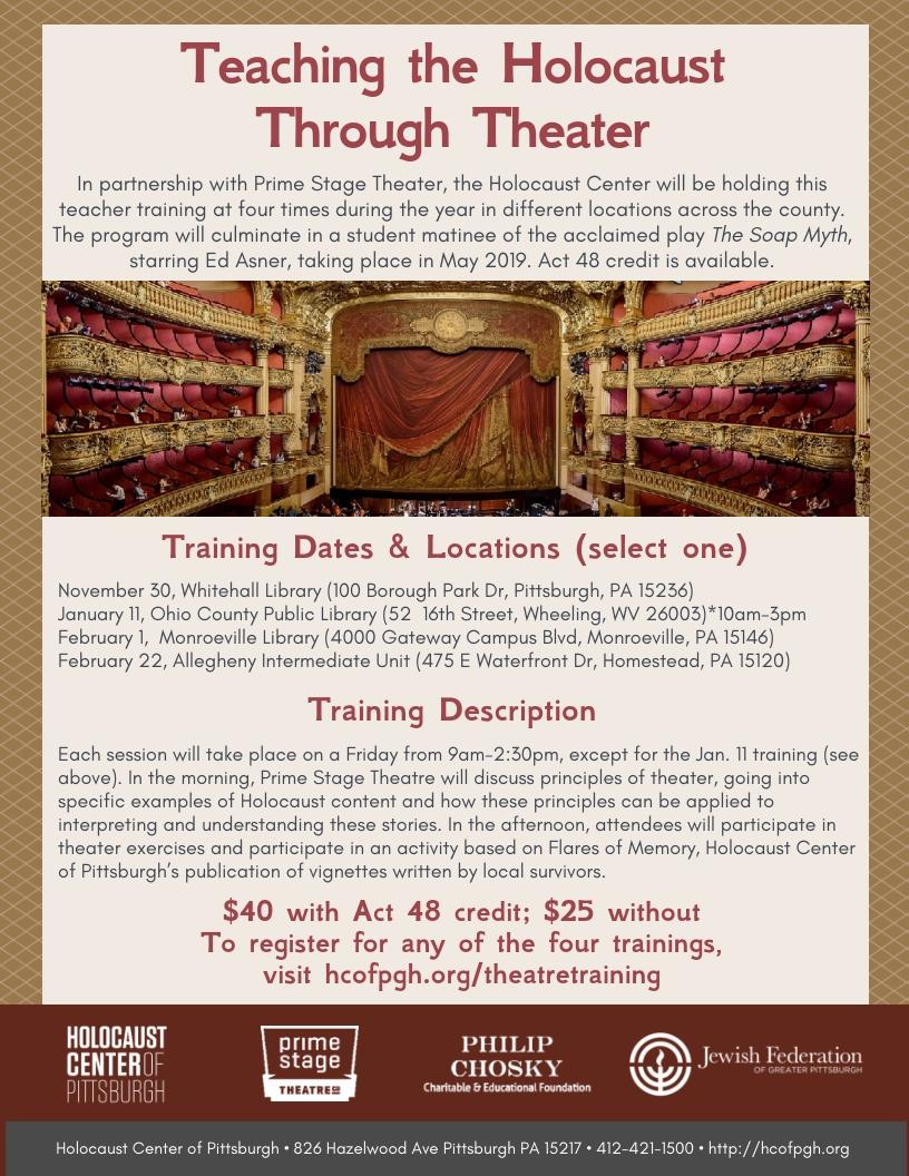Hometeaching Ideas For November 2019 Teaching the Holocaust Through Theater   Holocaust Center of