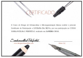 Certificado do Curso Design de Sobrancelhas