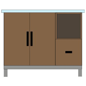 Double Door & Drawer with Open Shelves