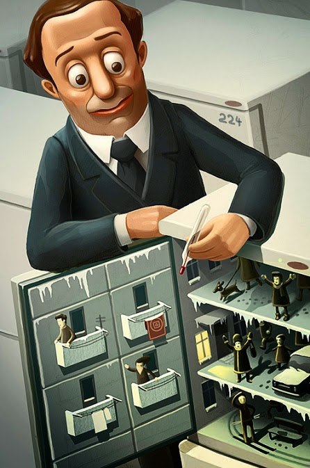 Cartoon image of man taking the temperature of an organization