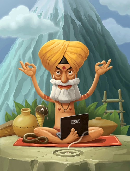 Cartoon image of a man meditating with a computer