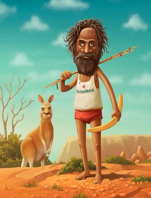 Cartoon image of a man and a kangaroo