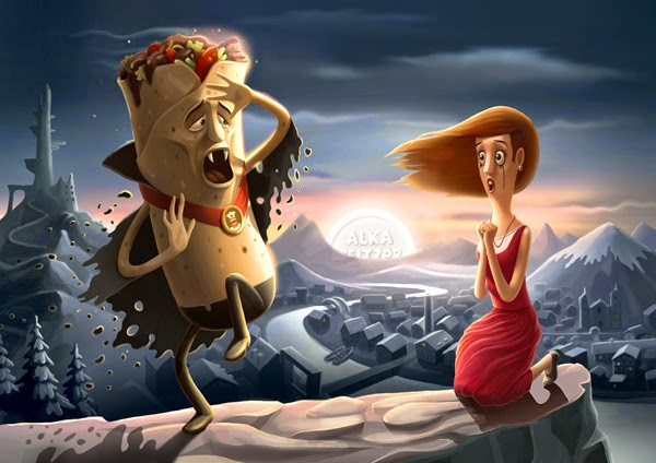 Cartoon image of a taco and a woman