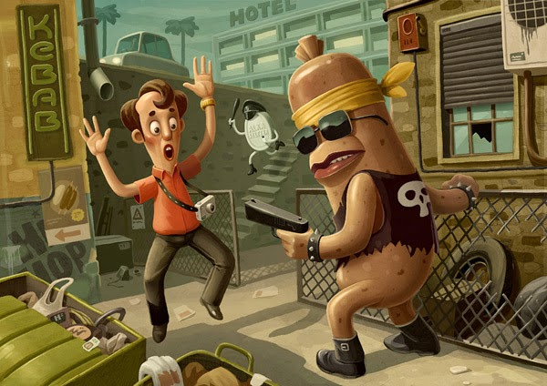 Cartoon image of a sausage robbing a man