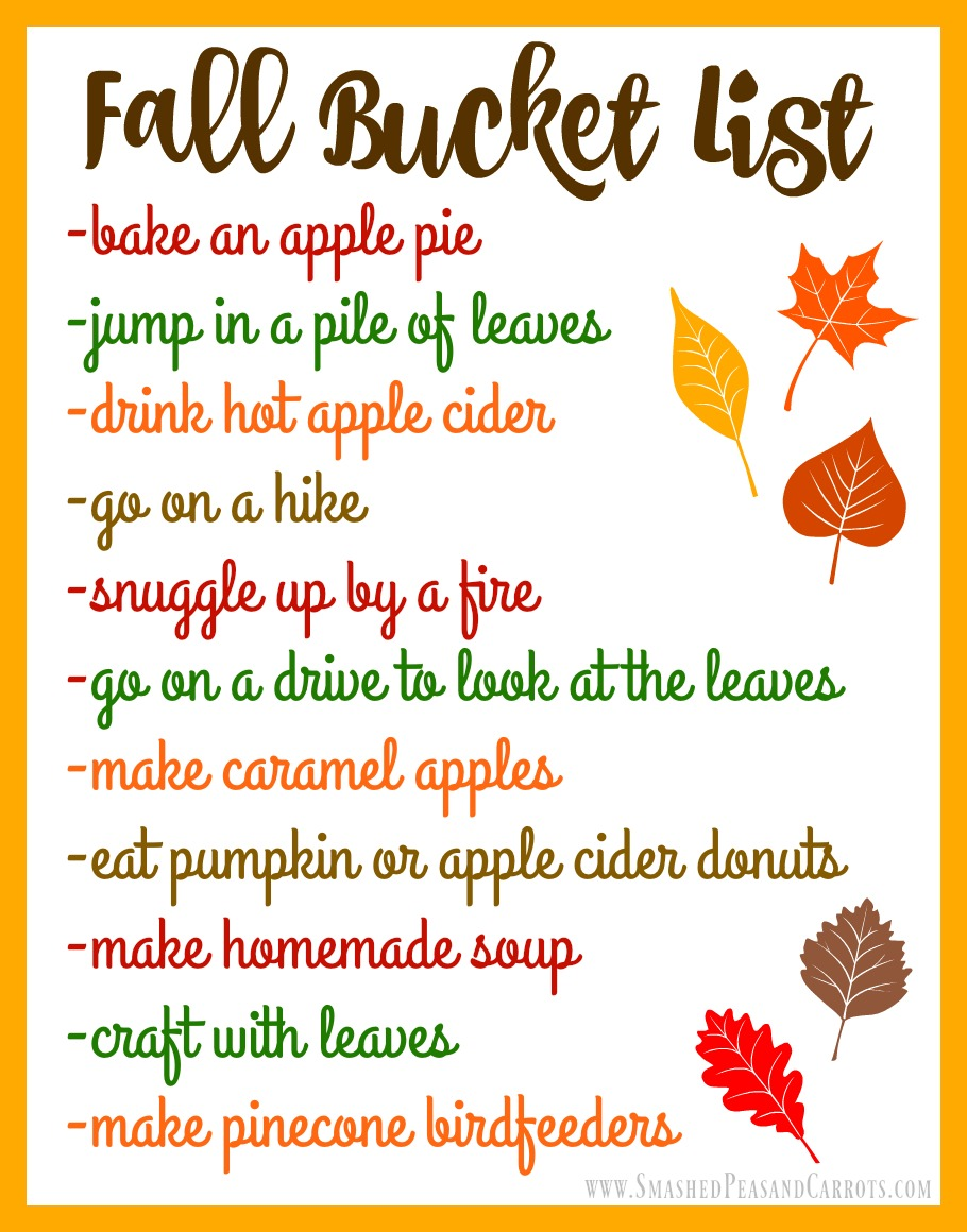 Image result for fall bucket list