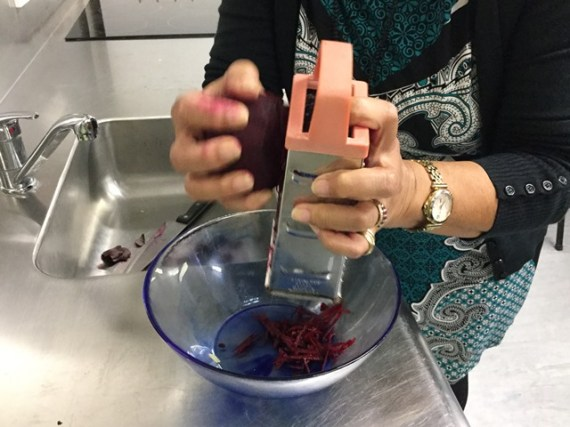 Grating beetroot