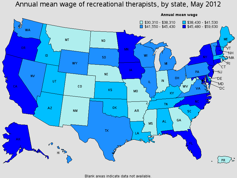 recreational therapist salary state by state