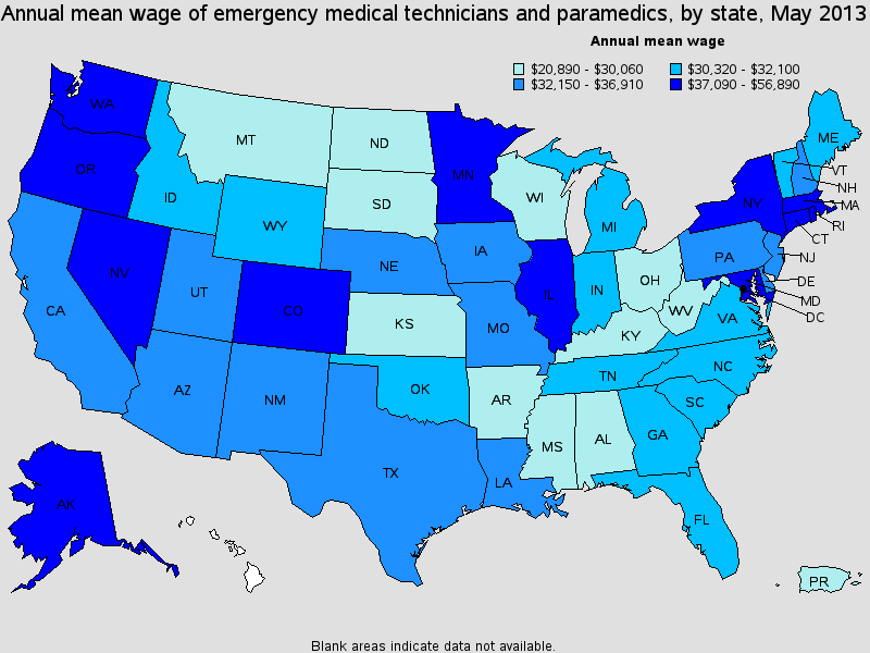 emt salary state by state 2013