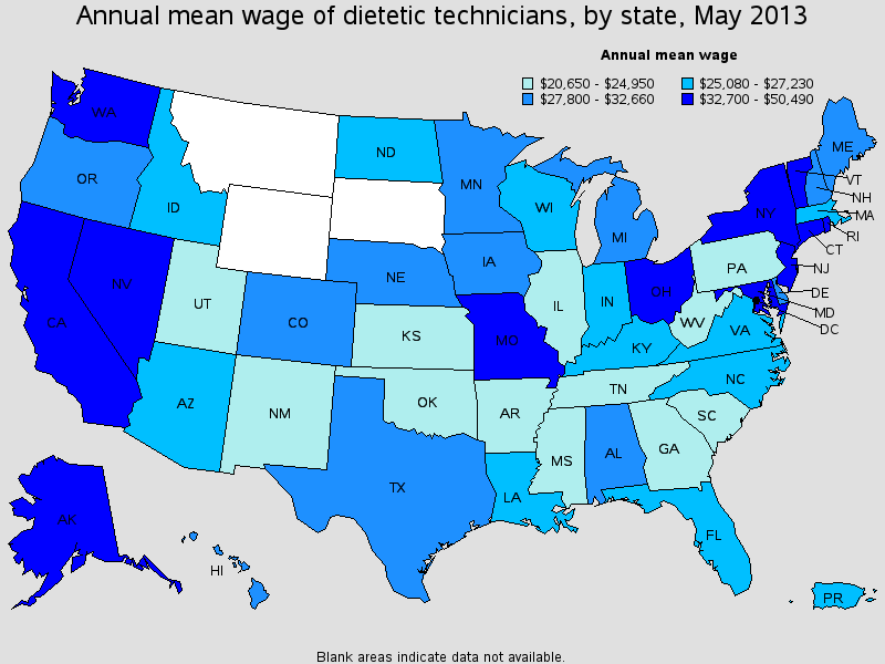 Dietetic Technician Salary State by State 2013