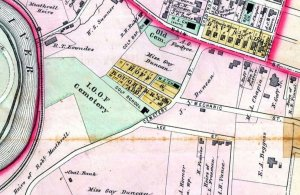 1886 Map of Cemetery and surrounding area