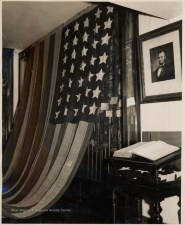 35 star flag and Lincoln Portrait