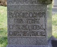 Carrie Davis Thompson's Grave marker