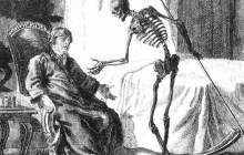 Sketch of Death coming use to illustrate the rash decision to go out that exhausted him to the point of death