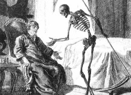Sketch of Death coming used to illustrate the death of B. L. Rogers