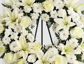 Wreath of White Lilies and White Roses