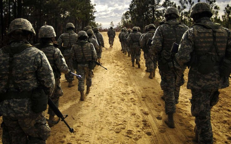 Army soldiers walking