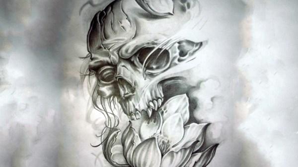Broken Skull Tattoo Design