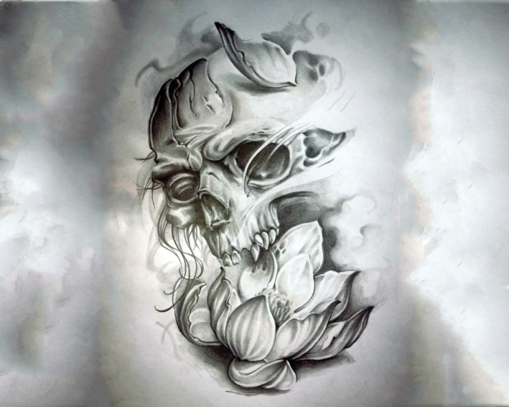 Broken Skull Tattoo Design
