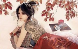 modern japanese geisha 3d tattoo art