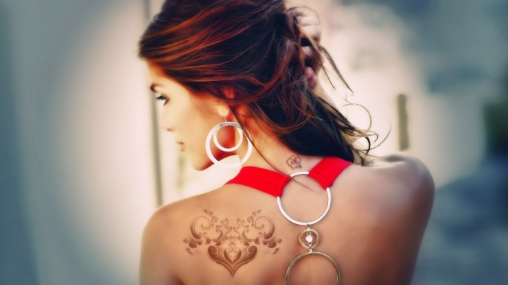 redhead girl back tattoo HD