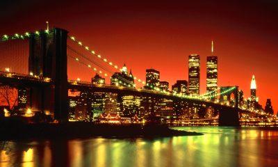 brooklyn bridge at night new york wallpaper