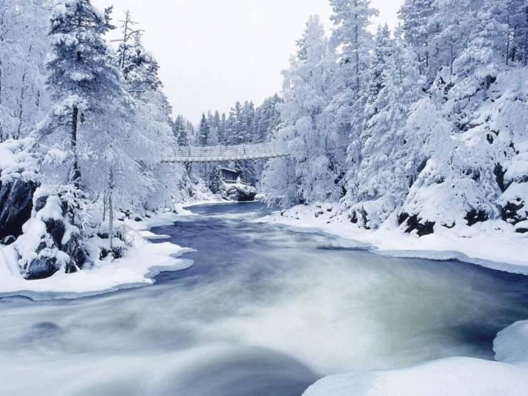 HD Winter snowfall wallpaper Desktop 1024p