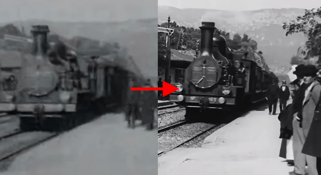 """L'arrivée d'un train en gare de La Ciotat"" de los Hermanos Lumière de 1895 restaurada en 4K gracias a Redes Neurales"