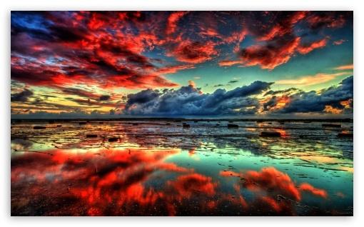 Red Clouds On Lake 4K HD Desktop Wallpaper For 4K Ultra HD