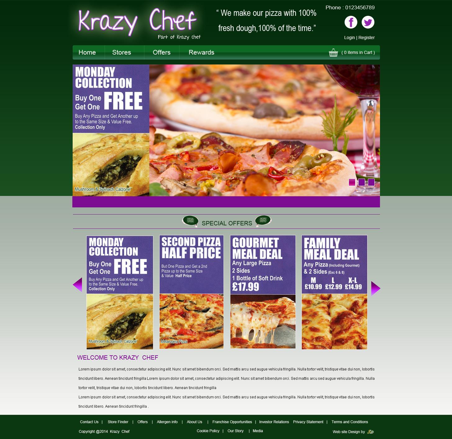 Krazy Chef, Takeaway Website, Takeaway Website Design, Fast Food Website, Fast Food Website Design