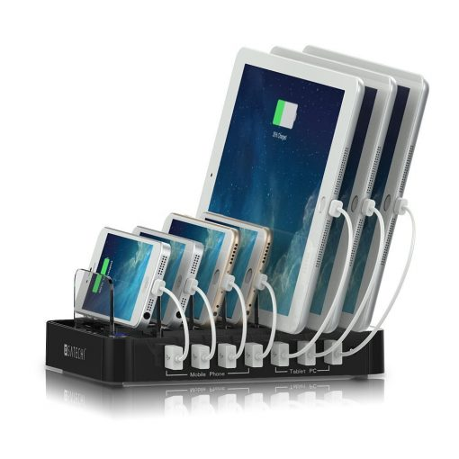 Satechi 7-Port USB Charging Station Dock for iPhone 6 Plus/6/5S/5C/5/4S, iPad Pro/Air/Mini/3/2/1, Samsung Galaxy S6 Edge/S6/S5/S4/S3/Note/Note2/Tab, iPod, Nexus, HTC, and more (Black)