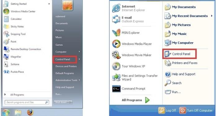 Windows 7, Windows XP Start Menu Control Panel to disk management