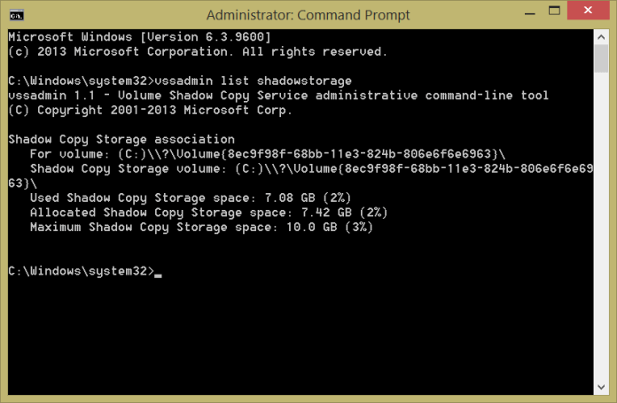 Real hard drive storage less than advertised, shadow storage command
